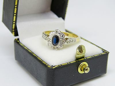 Lovely 18ct Yellow Gold and Platinum Sapphire and Diamond Art Deco Ring SIZE N