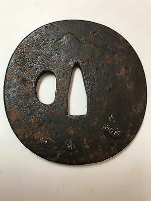 Antique Japanese Iron Tsuba Gold signed Kaneiye? 011
