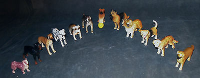Lot Of 12 Dogs - Hard Plastic -  Apx. 2 Inches Tall  - Excellent Used Condition