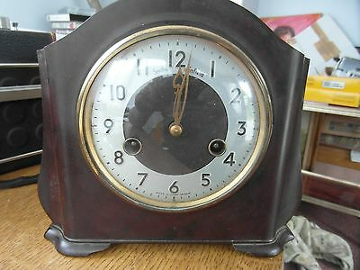 Vintage Smiths Enfield 8 Day Bakelite Striking Mantel Clock