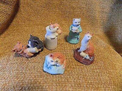 Collectible Lot of Five (5) Cat Figurines-Nice Shadowbox Curio Cabinet Addition
