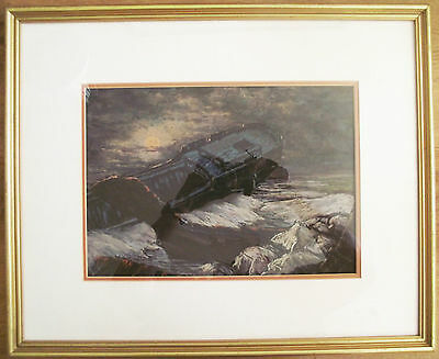 Signed ORIGINAL framed pastel painting SHIPWRECK