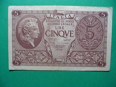 Vintage 1944 Italia 5 Lire Cinqve  Bank Currency Take A Look