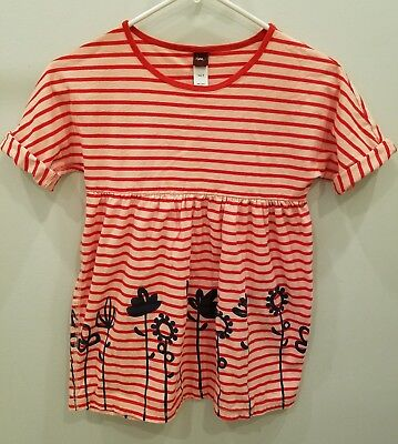 Tea Collection girl's kids size 10 tunic top shirt dress pink stripe floral
