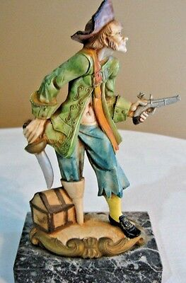 Fontanini Depose Pirate Figure Figurine Statue Made in Italy Black Marble Base