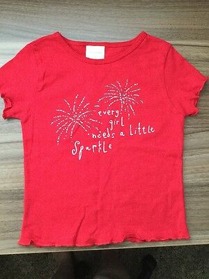 Wonder Kids Girls Red Shirt Sparkle Fireworks Size 4T
