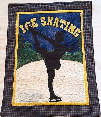 ICE SKATING Wall Hanging Miniature Quilted Picture Art - Finished Handmade