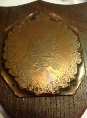 Queen Victoria Copper Printing Plate On Wood Wall Plaque