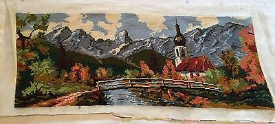 Finished Handmade Wool Tapestry - CHURCH BRIDGE RIVER - Needlepoint Picture Art