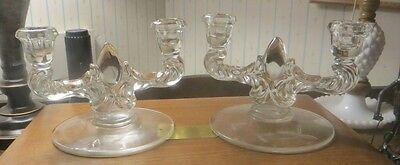 Pair of Vtg Cambridge? Fosteria? Etched Glass Art Deco Candlestick Holders