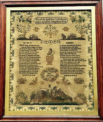 Beautiful Large  Victorian British Antique Sampler Eliza Gilbert 1847. Conserved