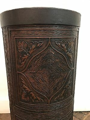 British Embossed Leather Umbrella Stand Retailed by OLIVER K. WHITING of LONDON
