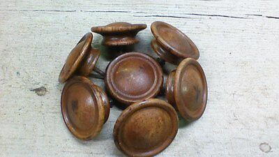 (7) Antique / Vintage Wooden Drawer Pulls / Knobs -- Original Screws Included