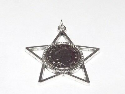 11th birthday anniversary 5p coin Start Burst Star shaped pendant to hang  2007