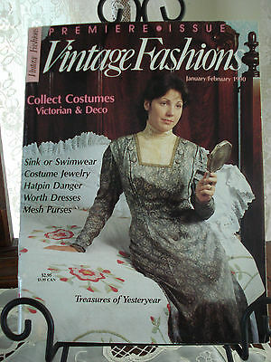 Vintage Fashions Magazine Premiere Issue Feb 1990-Worth-Jewelry-Hatpins-Purses
