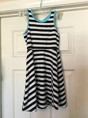 Girls SO Striped Dress Black, White And Teal Size XS 7/8