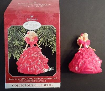 Hallmark 1998 Based on 1990 Happy Holidays Barbie # 3 in Series Collectors Club