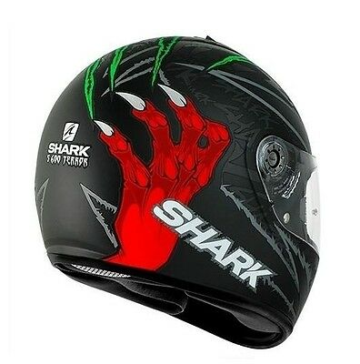 Shark S600 Terror Full Face Motorcycle Road Helmet Black Red Green #sh2412Krg