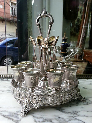 Antique German 800 Sterling Silver Stand and Egg Cruet Set For Eight Persons