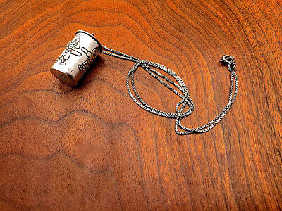 Mexican Sterling Silver Wish Box Pendant or Pill Box on Silver Chain No Monogram