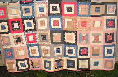 "Antique Double Sided Patchwork Quilt Hand Pieced/quilted 72"" X 82"""