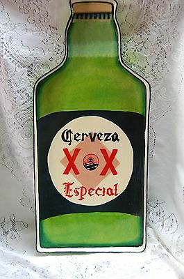 """22"""" Lacquered Wood Dos Equis Cerveza Especial Bottle Shape Tray/wall Hanging"""