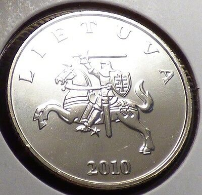 Lithuania 1 Litas 2010, Unc. Coin w/ Vytis, White Knight on Horse, KM 111