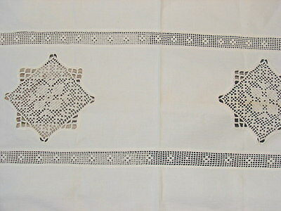 ANTIQUE EARLY 1900s HAND MADE LINEN MANTEL OR BUFFET CLOTH CROCHET INSETS