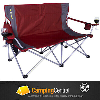 Oztrail Luna Double Sofa Moon Chair  Arms Picnic Camp Outdoor Seat Portable