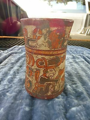 Authentic Mayan Pre Colombian Cylinder Vase With Painted Decoration
