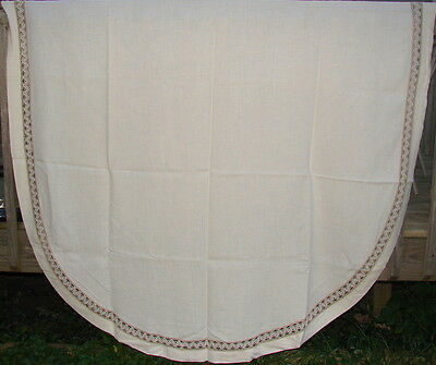 "ANTIQUE EARLY 1900s XL Heavy LINEN OVAL TABLECLOTH W/INSERTED BORDER 65"" X 98"""