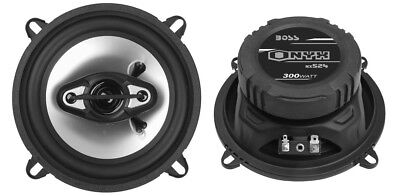 """2) NEW BOSS NX524 5.25"""" 300W 4-Way Car Audio Coaxial Speakers Stereo Black 4 Ohm"""