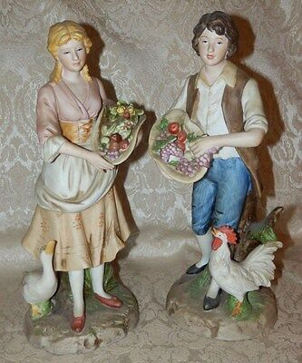 Vtg Home Interiors Homco Young Couple Figurines Set 1401 Man and Woman w/Fruit