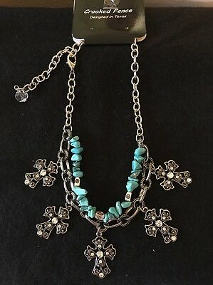 Boot Bracelet Women's Silver Metal Chains W/Cross & Crystals, Turquoise NEW