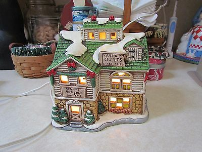 1987 Lefton Byron Wood Colonial Village Lighted Antique Shop Building ~ No Box