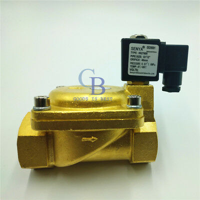 "DC12V G1-1/2"" Brass Electric Solenoid Valve 232 psi Normally Closed Air Water"