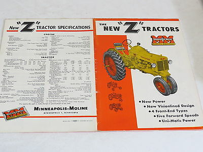 * Vtg Minneapolis Moline The New Z Tractor Agriculture Brochure *