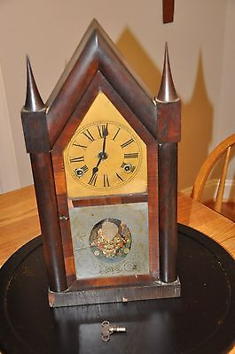 Antique Smith & Goodrich Steeple Clock with key