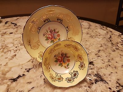 Vintage Paragon Wide Mouth Footed Cup & Saucer Yellow Ground Gold Gilt Flowers