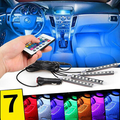 9 LED Remote Control Colorful RGB Car Interior Floor Atmosphere Light Strip 4pcs