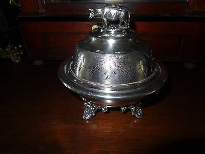 Antique Victorian 1920's John Chatellier Silver Plate Butter Dish Cow Lid RARE!