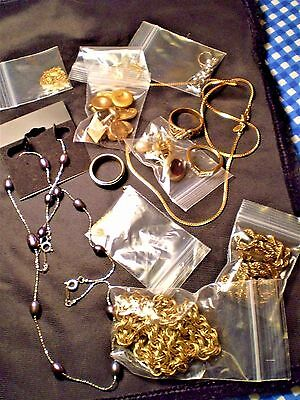 VINTAGE JEWELRY LOT Chains & Rings Cuff Links 14K 14KHGE 18KGF Plated Italy +