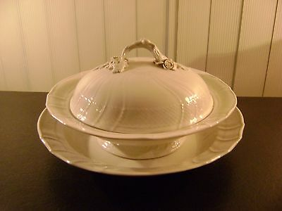 Unique Vintage Ivory Signed Porcelain Covered Soup Tureen with Under Plate