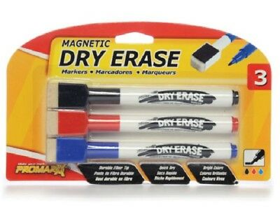New DRY ERASE MARKERS Fine Point Magnetic Eraser Top 3 PACK  BLACK BLUE RED NIP