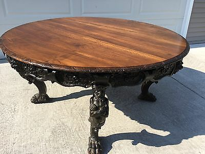 Rj Horner Carved Walnut Man Of The Mountain Caryatid Dining/Center Table No Res!
