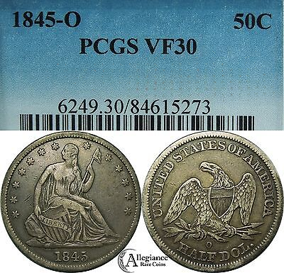 1845-O Seated Liberty Half Dollar PCGS VF30 rare old type coin fifty cents