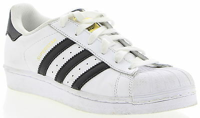 Women's ADIDAS Superstar White & Black Leather Casual Shoes Size 6.5