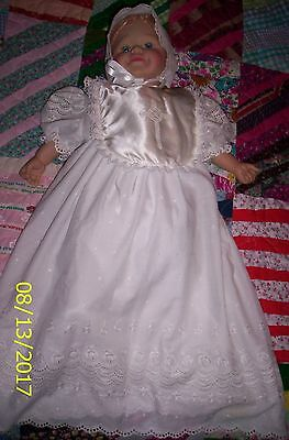Christening/Baptism Gown Eyelet Cotton with Slip, Bonnet, Booties & Bib 3 months