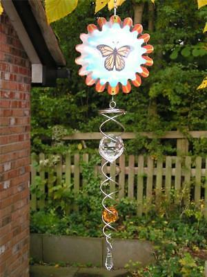 RRP£28 Designer Animated BUTTERFLY + 30cm Silver Twister Amber Crystal Iron Stop