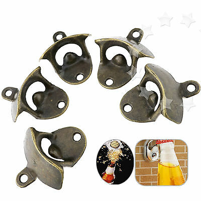 5 x Anti-rust Bronze Wall Mount Mounted Bar Wine Beer Cap Bottle Open Opener